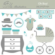 This Oh boy! set comes with 13 cliparts featuring pram, drawer, bib, mustache, hat,   mustache in decorative frame, bodysuit with tie, baby boy lettering, gift boxes set, two pins, banner and cupcake.
