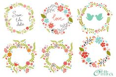 Floral frames by Olillia on Creative Market