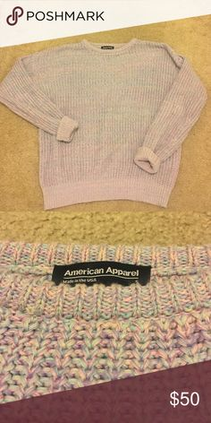 American Apparel lavender knit sweater Preppy sweater knitted with a mixture of lavender, baby pink, and baby blue thread American Apparel Sweaters Crew & Scoop Necks