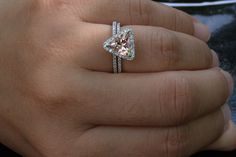 14k White Gold 8mm Morganite Trillion Engagement Ring and Diamonds Wedding Band Set (Choose color and size options at checkout)