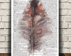 Dictionary poster Feather print Bird art by OneDictionary on Etsy
