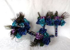 Peacock feather wedding bouquet turquoise by ChurchMouseCreations