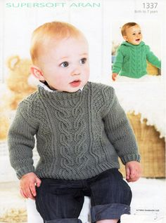 Jumper with cable detail with or without a hoodie in Sirdar Supersoft Aran - Discover more Patterns by Sirdar at LoveKnitting. We stock patterns, yarn, needles and books from all of your favorite brands. Sirdar Knitting Patterns, Baby Sweater Knitting Pattern, Baby Sweater Patterns, Knitted Baby Cardigan, Knit Patterns, Baby Sweaters, Aran Sweaters, Aran Jumper, Knitting For Kids