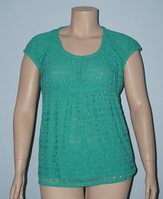 Liz Wear NWT XL Green Cap Sleeve Crochet Lace Overlay Peasant Blouse Knit Top #LizWear #Blouse #Casual
