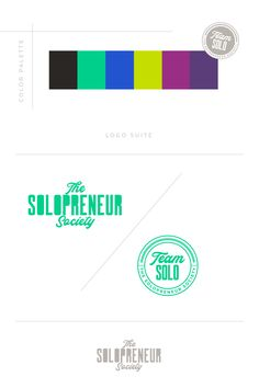 Brand identity design assets for The Solopreneur Society, inculding #colors, #logos, #fonts, #submarks, #pattern design, and #icons. Visit The Solopreneur Society today to eye-guzzle our full portfolio of brand identity suites and to learn how we can make you red carpet ready!