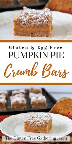 Gluten Free & Egg Free Pumpkin Pie Crumb Bars – The Gluten Free Gathering - Everything you loved about pumpkin pie - the spices, the creaminess, the classic goodness of pumpkin, all in a delicious bar topped with lightly sugared crumbs.  #glutenfree #pumpkin #pumpkinpiebars #glutenfreedessert