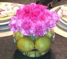 Carnations, Always thought YUCK, who would of thought they'd be back in, cut short, cool vase, bingo!