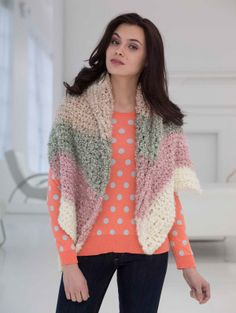 This Large Collar Cape is crochet with only 2 balls of Homespun Thick & Quick.  The pastel colors will really brighten someone's mood. Will make a great gift for someone who needs some comfort.