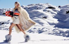 Anouk Sanders wears quilted jackets, luxe furs as well as heavy duty boots stars in Myself Magazine December 2015 issue Photoshoot