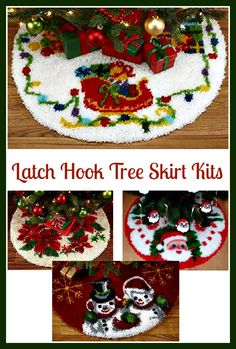 Latch Hook Tree Skirt Kits – Crafters Kingdom – Crafting With Sylvestermouse – Latch Hook İdeas. Christmas Rugs, Christmas Crafts, Christmas Decorations, Christmas Ideas, Christmas Tree Skirts Patterns, Latch Hook Rug Kits, Loom Knitting Projects, Rug Hooking Patterns, Rugs On Carpet