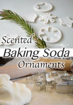 scented-baking soda ornament - Diy Home Crafts Salt Dough Christmas Ornaments, Clay Christmas Decorations, Homemade Ornaments, 3d Christmas, Christmas Ornament Crafts, Homemade Christmas, Holiday Crafts, Diy Ornaments, Christmas Things