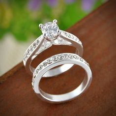 USA Women Engagement Wedding 2Pcs Set Cubic Zirconia Silver Plated Couple Rings