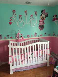 13 best girl minnie mouse nursery images minnie mouse nurseryminnie mouse nursery, paint is valspar aquatic mist and pink frenzy, wall letters from michaels painted white, large decal from walmart