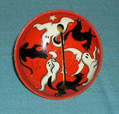 vintage HALLOWEEN NOISEMAKER (cracked handle) ghosts black cats moon stars