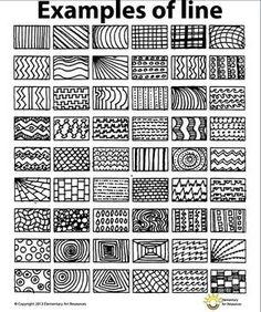 Lesson One Element of Line - Year 5 2016 Middle School Art, Art School, High School, School Ideas, Documents D'art, Principals Of Design, Arte Elemental, Classe D'art, Art Handouts
