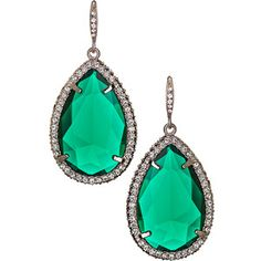 ABS Emerald Color Teardrop Holiday Gem Earrings