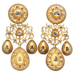 Early 18th Century Portuguese Diamond Gold Earrings. A pair of Portuguese gold and rose-cut diamond girandole earrings. Unmarked