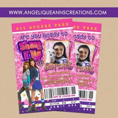 Shake it Up Girls Party Invitations for Bellas 5th Birthday