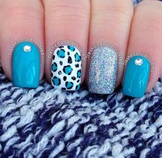Cute blue and leopard nails. Fabulous Nails, Gorgeous Nails, Hair And Nails, My Nails, Leopard Print Nails, Cheetah Nail Art, Pretty Nail Art, Cute Acrylic Nails, Stylish Nails