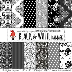"New to SandraGraphicDesign on Etsy: Damask digital paper: ""BLACK and WHITE DAMASK"" with damask patterns damask backgrounds black digital paper white digital paper (1033) (3.75 USD)"