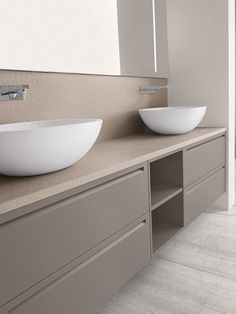 beautiful colour palette of blonde wood and grey | contemporary bathroom | wall hung counter top vessel basins and modular furniture | Casabath