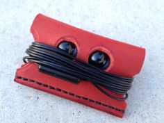 Handmade leather ear bud case by EagleandCrossLeather on Etsy, $12.00