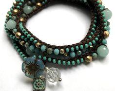 Aqua and gold beaded crochet wrap bracelet, summer fashion, bohemian jewelry, crochet jewelry, gift for her, coffycrochet, summer jewelry