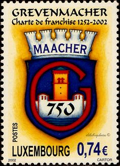 Luxemburg.  Grevenmacher Charter of Freedom, 750th Anniv.  Scott 1098 A446, Issued 2002 Sept. 14,  Perf. 13 1/4x13, Litho., 74c. /ldb.