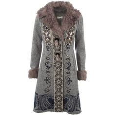 ODD MOLLY M30355 FANTASIA/GREY/BLACK WOOL/SILK 0 ($980) ❤ liked on Polyvore featuring outerwear, coats, jackets, coats & jackets, women, odd molly, wool coat, print coat, patterned wool coat and pleated coat