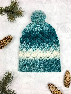 Use this crochet pattern to make a crochet slouchy hat using just half of a skein of Lion Brand Scarfie yarn. This pattern is written in three sizes: Toddler, Child and Adult. One Skein Crochet, Crochet Slouchy Hat, Crochet Mittens, Crochet Stitches, Free Crochet, Knitted Hats, Crochet Hats, Crochet Pattern, Free Pattern
