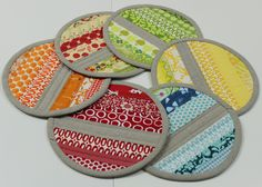 Beautiful zakka style potholders by Kristen at the So Happy to Sew blog