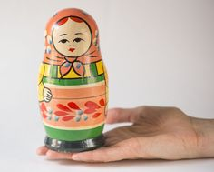 Big vintage Matryoshka nesting doll pink green yellow by SovietEra, $17.00