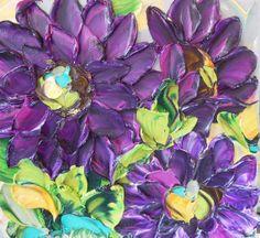 Texture! Oil Painting  Purple Aster by IronsideImpastos on Etsy, $40.00
