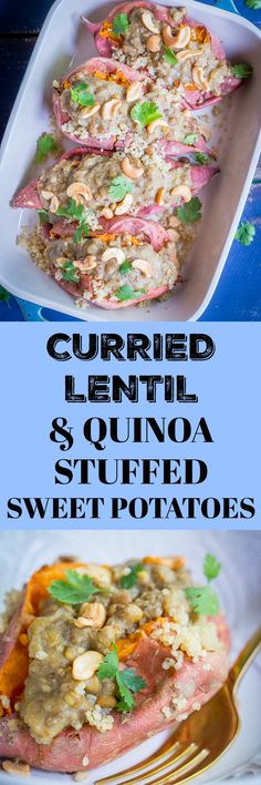 These Curried Lentil and Quinoa Stuffed Sweet Potatoes are so easy to make and great for a weeknight dinner or make ahead lunch! They're also vegan and gluten free! Perfect comfort food for fall! Vegan Dishes, Food Dishes, Vegan Food, Main Dishes, Side Dishes, Clean Eating Recipes, Cooking Recipes, Best Vegetarian Recipes, Vegetarian Meals