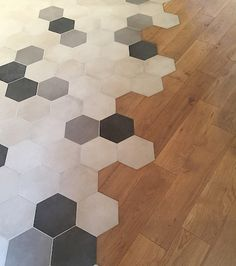 Incredible photo - check out our report for additional tips! Home Room Design, Wood Floors, Honeycomb Tiles Kitchen, Floor Design, Cement Tile, Flooring, Ceiling Light Design, Honeycomb Tile, Octagon Tile Floor