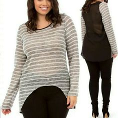 Plus size sheer mesh long sleeves top tunic blouse Plus size Light weight Sheer, mesh hi low tunic top blouse shirt.  Ivory, gray  and black multi colored  Trendy high low hem. Front is made Stretchy delicate loose Knit fabric. Back is black plain fabric Round trim neck line Long Sleeve Boutique  Tops Tees - Long Sleeve
