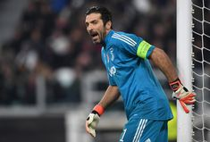 Gianluigi Buffon of Juventus gives his team instructions during the UEFA Champions League Round of 16 First Leg match between Juventus and Tottenham Hotspur at Allianz Stadium on February 13, 2018 in Turin, Italy.