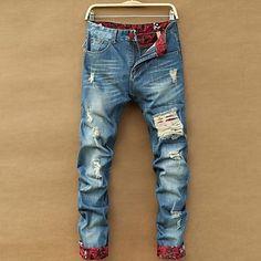 tipo magro calças buraco tubo direito dos homens - BRL R$ 86,49