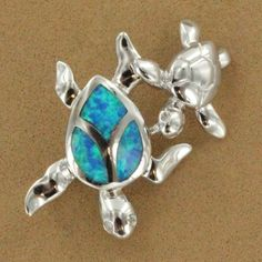 Sterling Silver Created Blue Opal Two Turtle Pendant $79.50 #jewelry
