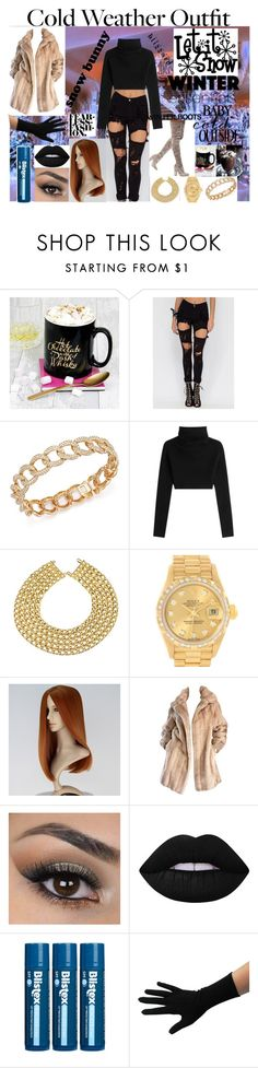 """""""Winter season"""" by stunningwork ❤ liked on Polyvore featuring Reception, Bloomingdale's, Valentino, Chanel, Rolex, Lilli Ann, Lime Crime and Winter"""