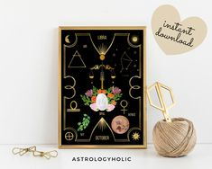 LIBRA Astrology Wall Art,Horoscope Cards, Zodiac Print, Tarot Cards, Star Sign,Digital Download, Astrology Print,Printable,Constellation