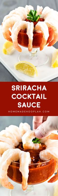 Sriracha Cocktail Sauce! Embrace your love of sriracha and shrimp by serving up a delicious appetizer that's sure to please the crowd! | HomemadeHooplah.com
