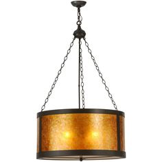 28 Inch W Smythe Craftsman Amber Mica Pendant Beautiful ambient light gently diffused by Amber Mica.Inspired by the famous Arts & Crafts Movement. HandsomeTimeless Bronze finished hardware and accents