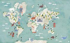 Map by masako kubo illustrations: travel & maps рисунки, иллюстрации, п World Map Wall Art, Wall Maps, Travel Illustration, Character Illustration, Drag, Japan Art, Tokyo Japan, Map Design, Graphic Design
