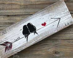 Wood Arrow Wall Art Valentine's Day Gift Farm Wood Sign You and Me Sign Signs Reclaimed Wood Art Gift Engagement Gift Idea Love Bird Painting Wood Love Art Wood Wall Decor Wedding Anniversary Gift for Couple by Linda Fehlen Wood Gallery You and me – birds Arrow Painting, Love Birds Painting, Painting On Wood, Rustic Painting, Love Birds Drawing, Wood Paintings, Painting Quotes, Painting On Pallets, Painting Canvas