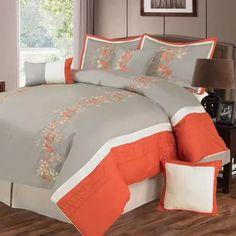 orange, grey, white, Somerset Home Branches 7-Piece Embroidered Bedding Comforter Set