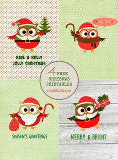 Free Owl Christmas Card Printables