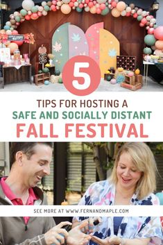 Keep your fall celebrations safe with these 5 Top Tips for Hosting a Socially Distant Fall Festival! Get all of the ideas for how to keep things clean and safe at your autumn community block party without sacrificing the fun now at fernandmaple.com!