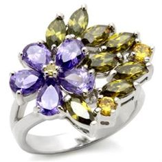 Lilac Floral Bloom with Marquise Cut Petal CZ Cocktail Ring | Hope Chest Jewelry $28.49
