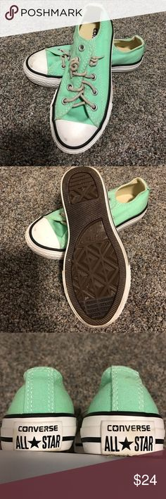 Mint green converse all stars girls sneakers Pastel green lace in sneakers. Laces were replaced with a stretchy band for easy on easy off kid friendly shoes. Size 11. Worn a handful of times insoles and outsoles look new Converse Shoes Sneakers